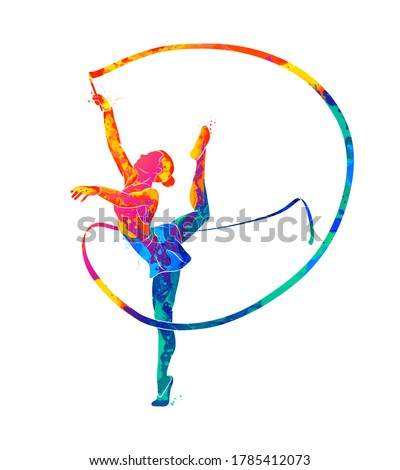 abstract girl gymnast with