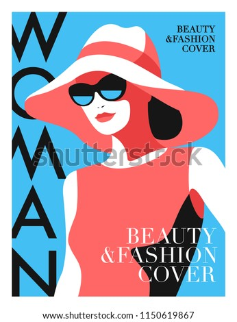 Abstract girl wearing big hat and sunglasses. Woman fashion magazine cover design.  Vector illustration