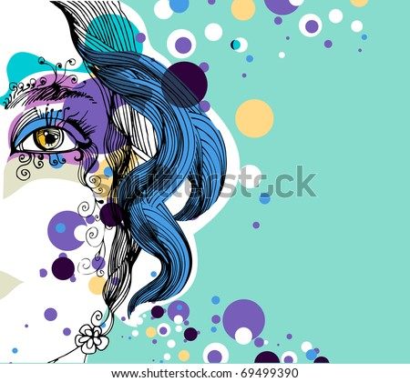 abstract girl with dots