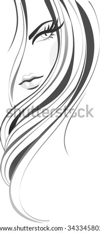 Abstract girl with long beautiful hair. Hairs vertical banner