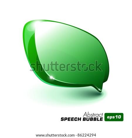 Abstract Glass Speech Bubble Green - stock vector