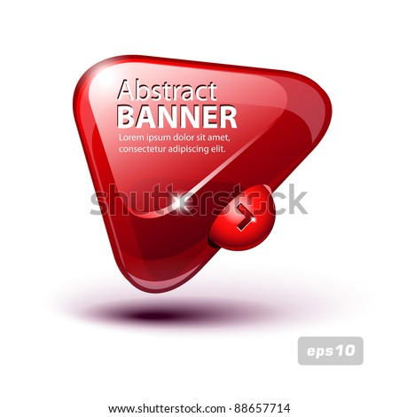 Abstract Glass Triangle Banner Red - stock vector