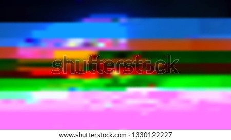 Abstract glitch background. Vector illustration of a distorted surface. Cyberpunk concept. Modern techno backdrop. #1330122227
