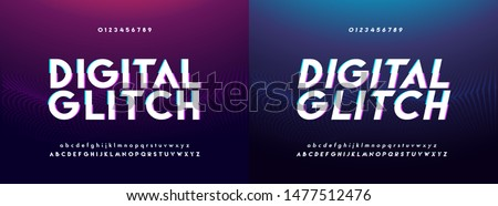 Abstract glitch digital alphabet font and number. Typography urban future creative design analog modern concept fonts and numbers. vector illustraion