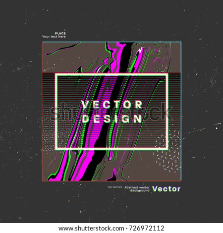 Abstract glitch poster cover design with anaglyph effect | Retro 80s style | Vector illustration