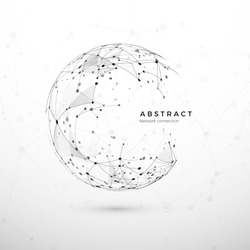 Abstract global network concept. Web structure, node net. Dots and connection mesh. Sphere technology cyberspace background. Vector illustration on white background