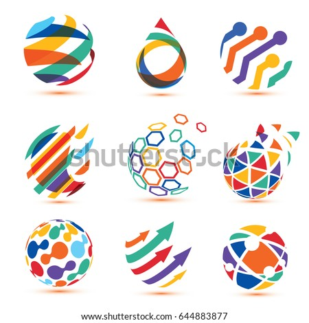 abstract globe and puzzle symbol set,communication and technology icons, internet and social network social network concept.