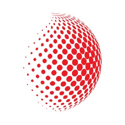 Abstract globe dotted sphere, 3d halftone dot effect. Red color, in White background. Vector illustration. It can use as logo, icon. Earth Shape.
