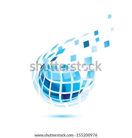 abstract globe icon, business and communication concept