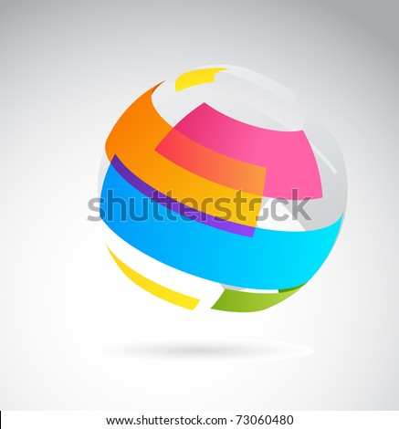 Abstract globe icon made from color ribbons