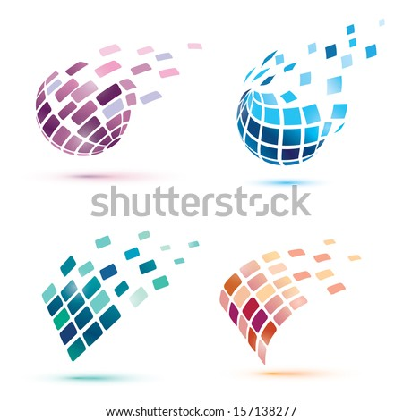 abstract globe icons  business