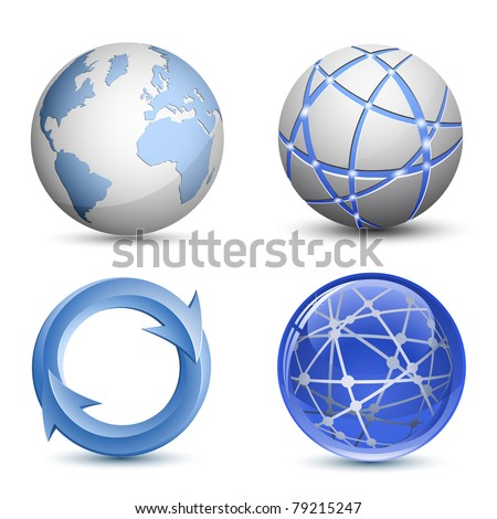Abstract Globe Icons Set. Vector Illustration