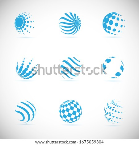 Abstract Globe Logo Set - Isolated On Gray - Vector Illustration. Abstract Globe Vector For Web Icon, Tech Logo And Element Design. 3D Icons For Earth, Global, Globe, Planet And World Logo