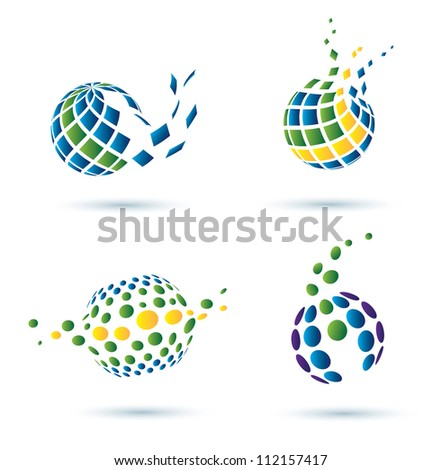 Abstract globe set of vector icons, business concept