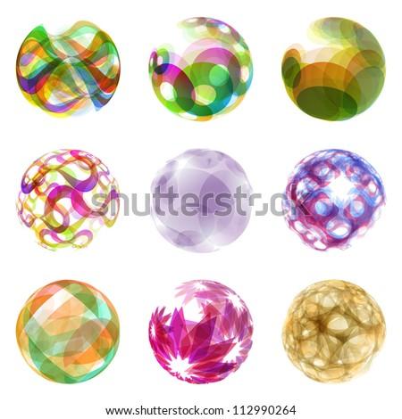 Abstract globe set. Vector circle illustration.