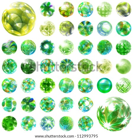 Abstract globe set. Vector ecology illustration. Green energy.