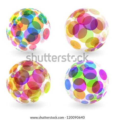Abstract globe set. Vector illustration.