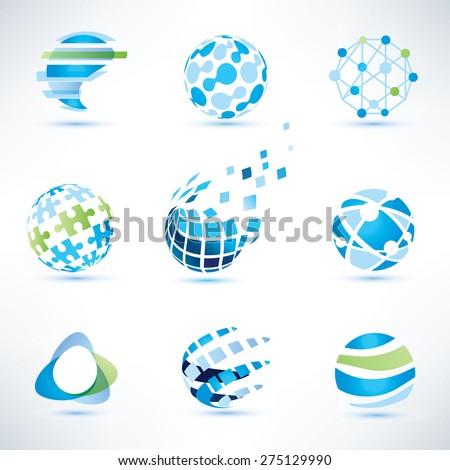 abstract globe symbol set