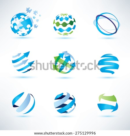 abstract globe symbol set,communication and technology icons, internet and social network concept