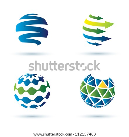 Abstract globe vector icons, business concept