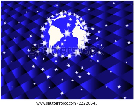 abstract globe with stars
