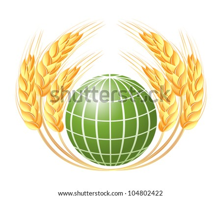 Abstract globe with wheat ears