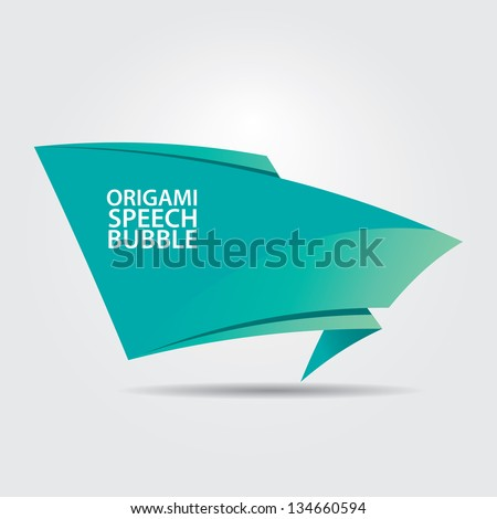 Abstract glossy azure origami speech bubble. Vector turquoise abstract background.