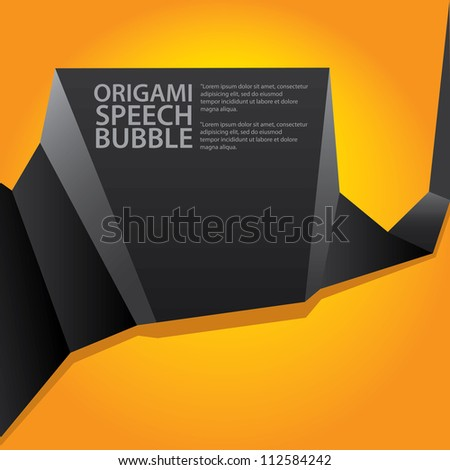 Abstract glossy black and orange origami speech bubble. Vector abstract background. Orange brochure.