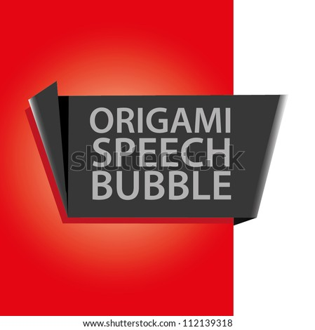 Abstract glossy black and red origami speech bubble. Vector abstract background.