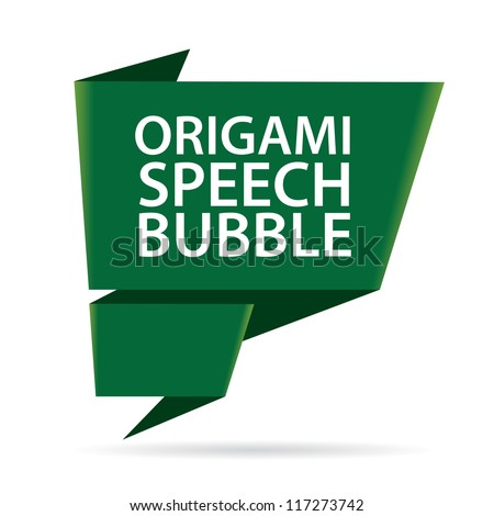 Abstract glossy dark green origami speech bubble. Vector abstract background. Green brochure.