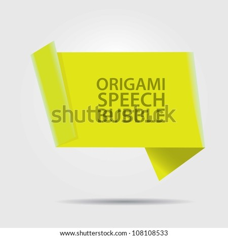 Abstract glossy green origami speech bubble. Vector abstract background.