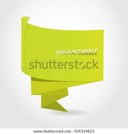 Abstract glossy green origami speech bubble. Vector illustration.