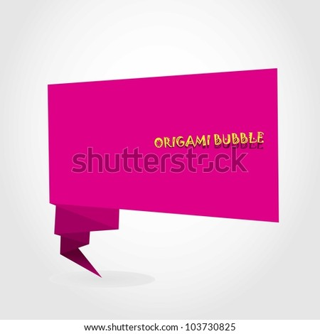 Abstract glossy origami speech bubble. Vector illustration.