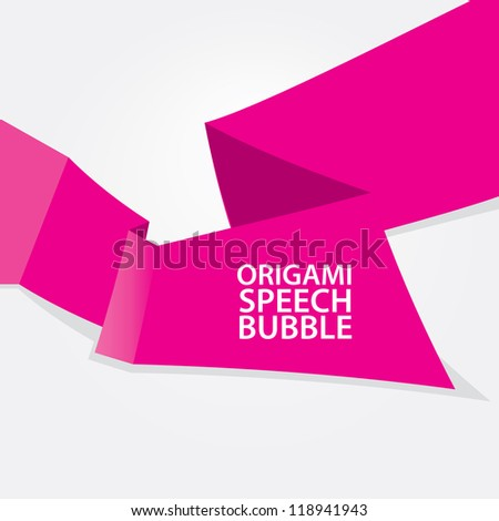 Abstract glossy pink origami speech bubble. Vector abstract background. Pink brochure.