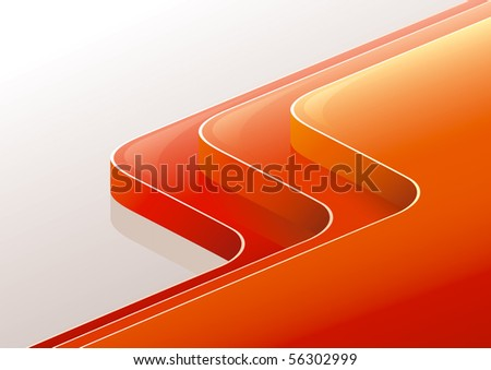 """Abstract glossy red orange perspective 3 steps - podium reflected. """"Full compatible. Created with gradients."""""""