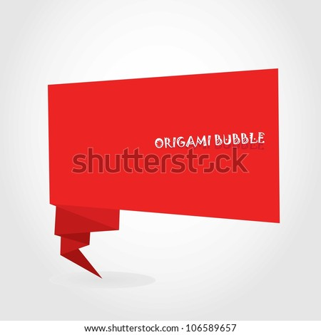Abstract glossy red origami speech bubble. Vector illustration.