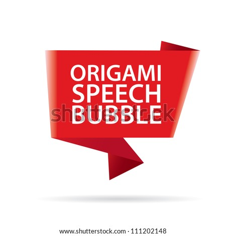 Abstract glossy red origami speech bubble. Vector red abstract background.