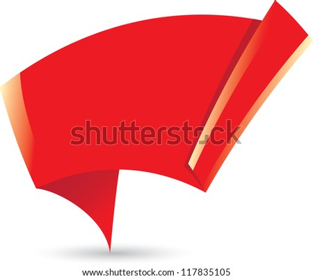 Abstract glossy red origami speech bubble. Vector red abstract background. red brochure template design.