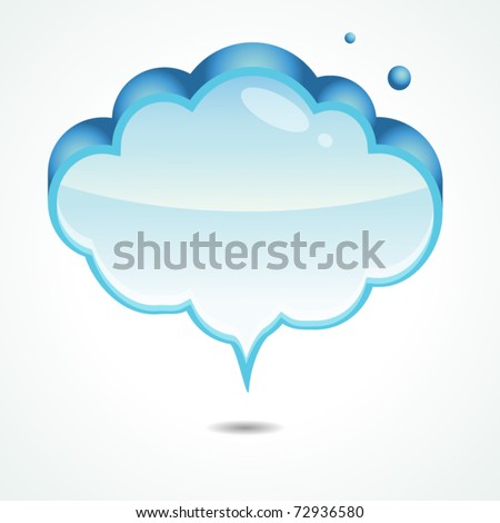 Abstract glossy speech bubble in cloud shape.