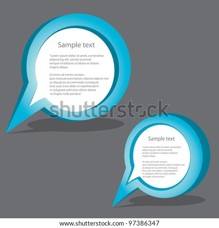 Abstract glossy speech bubbles set. Vector illustration.