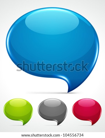 Abstract glossy speech bubbles vector backgrounds set eps 10.