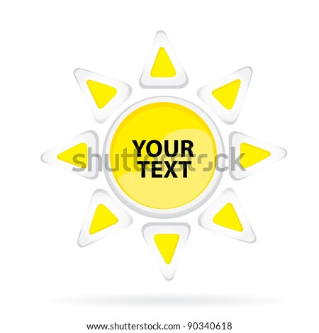 Abstract glossy speech yellow sun-bubble  on white. Vector illustration.