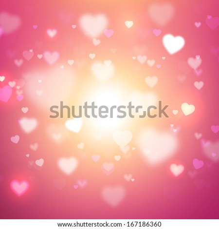 Abstract Glow Soft Hearts for Valentines Day Background Design. Vector Illustration.