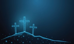 Abstract glowing blue cross. Crucifixion Of Jesus Christ. Low polygon, particle, and triangle style design.Wireframe light connection structure.concept religion, Christian worship, easter day, praying