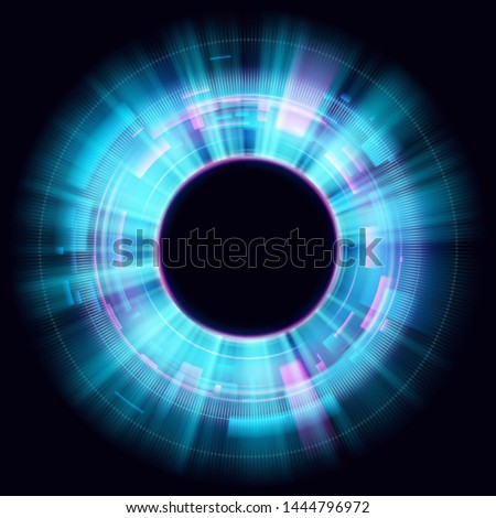 Abstract glowing circles on black background. Magic circle light effects. Illustration isolated on dark background. Mystical portal. Glow ring. Magic neon ball. Vector. Eps10