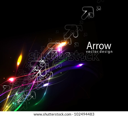 Abstract glowing lines of light with rainbow colors background.