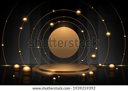 Abstract gold and black circle podium background