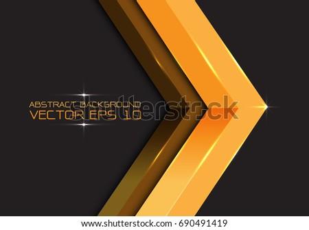 abstract gold arrow 3d on dark