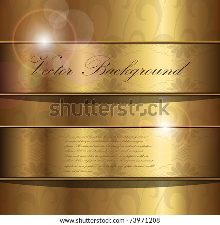 Abstract gold background with floral ornaments, vector.