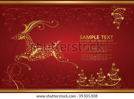 abstract gold christmas deer on red background